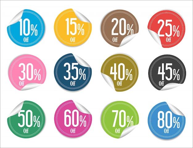 Colección moderna y colorida de pegatinas de venta