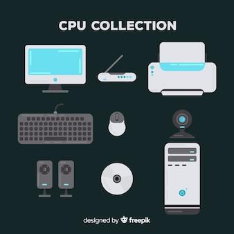 Colección moderna de cpu con diseño plano