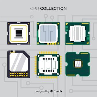 Colección moderna de cpus con diseño plano
