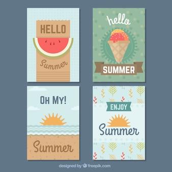 Colección moderna de cuatro tarjetas de verano