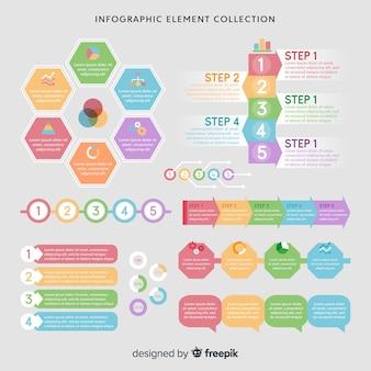 Colección moderna de elementos de infografía con diseño plano