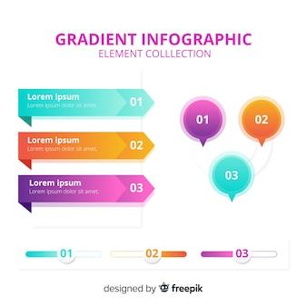 Colección moderna de elementos de infografía con estilo de degradado