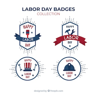 Colección moderna de insignias del día del trabajo