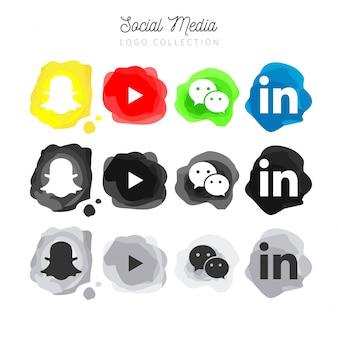 Colección moderna de logotipos de redes sociales de acuarela