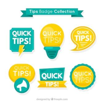 Colección moderna de etiquetas de consejos con diseño plano