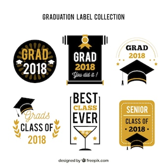 Colección moderna de etiquetas de graduación