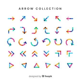 Colección moderna de flechas con diseño plano