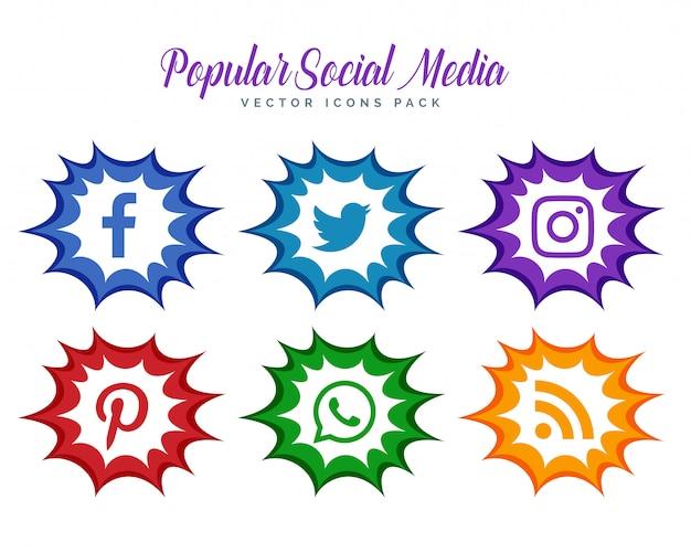 Colección moderna de iconos de redes sociales estilo cómic