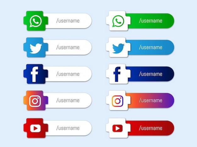 Colección moderna de iconos de terceros de redes sociales inferiores