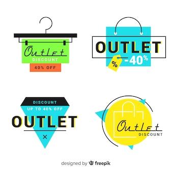 Colección moderna de insignias de outlet dibujadas a mano