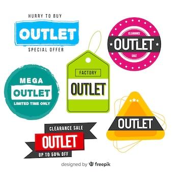 Colección moderna de insignias de outlet con diseño plano