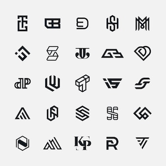 Colección moderna de letras del logotipo del monograma