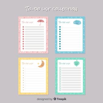 Colección moderna de listas de cosas que hacer con estilo adorable