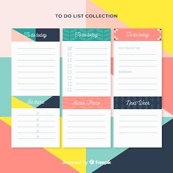 Colección moderna de listas de cosas que hacer con estilo colorido