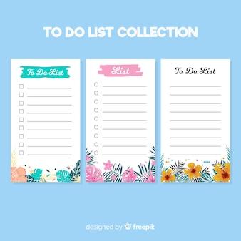 Colección moderna de listas de cosas que hacer con estilo floral