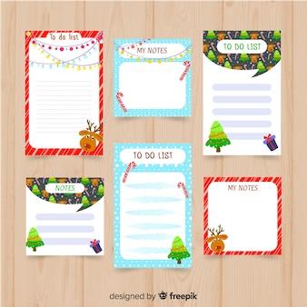 Colección moderna de listas de cosas que hacer con estilo de navidad