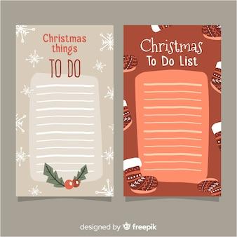 Colección moderna de listas de cosas que hacer con estilo navideño