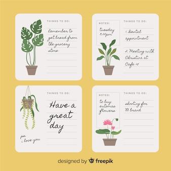 Colección moderna de listas de cosas que hacer con plantas