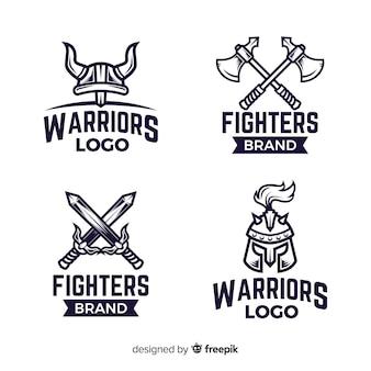 Colección moderna de logos de deporte con guerreros