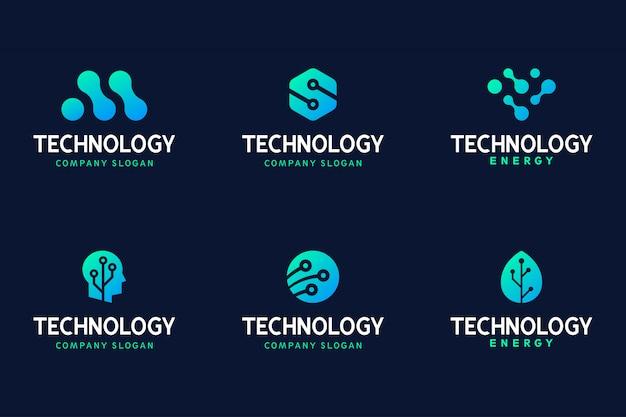 Colección moderna de logotipos de tecnología de degradado