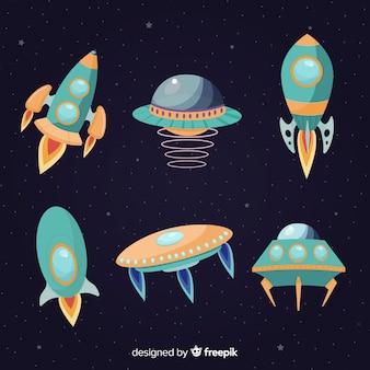 Colección moderna de naves espaciales con diseño plano