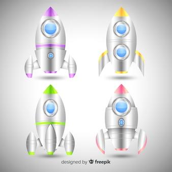 Colección moderna de naves espaciales con diseño realista