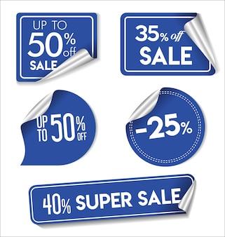Colección moderna de pegatinas de venta azul