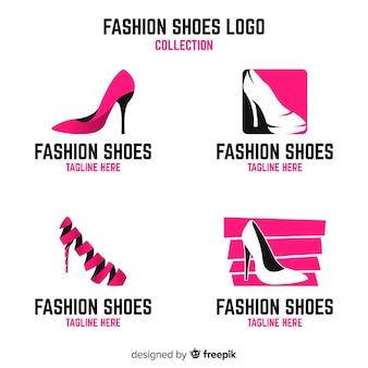 Colección moderna de plantillas de logos de zapatos