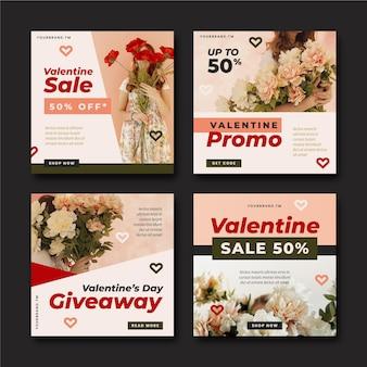 Colección moderna de publicaciones de rebajas de san valentín