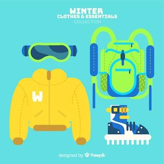Colección moderna de ropa de invierno con diseño plano