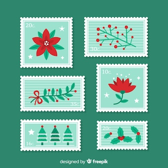 Colección moderna de sellos florales