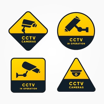 Colección moderna de señales de cámara de seguridad con diseño plano