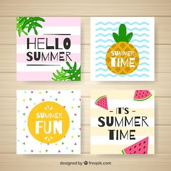 Colección moderna de tarjetas de verano