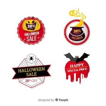 Colección de modernas etiquetas de rebajas de halloween