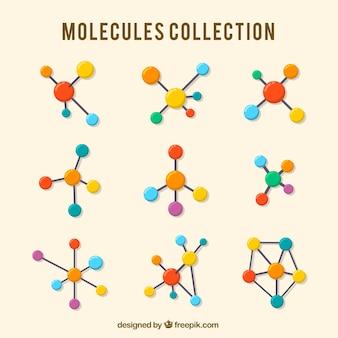 Colección de moléculas de colores en diseño plano