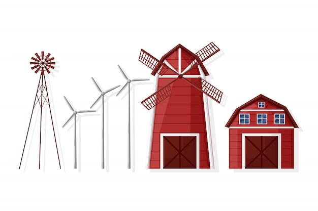 Colección molino de viento y casa de campo