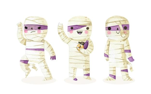 Colección de momias de halloween en acuarela