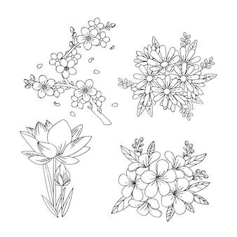 Colección monocromática de flores de primavera