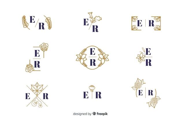 Colección de monogam de lujo para bodas ornamentales