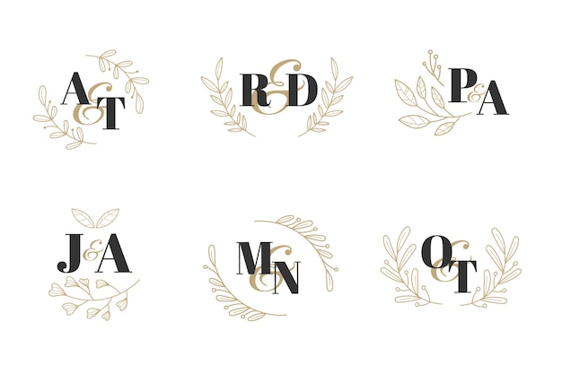 Colección de monograma de boda floral