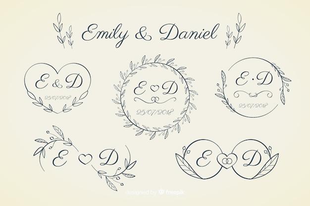 Colección de monograma de boda ornamental