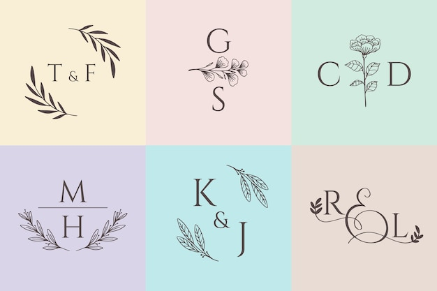 Colección de monogramas de boda en colores pastel