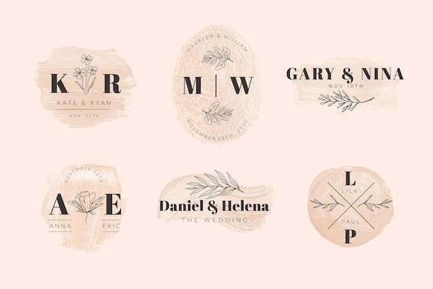 Colección de monogramas de boda pintados a mano.