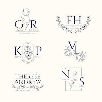 Colección de monogramas de boda planos lineales de boda dibujados a mano
