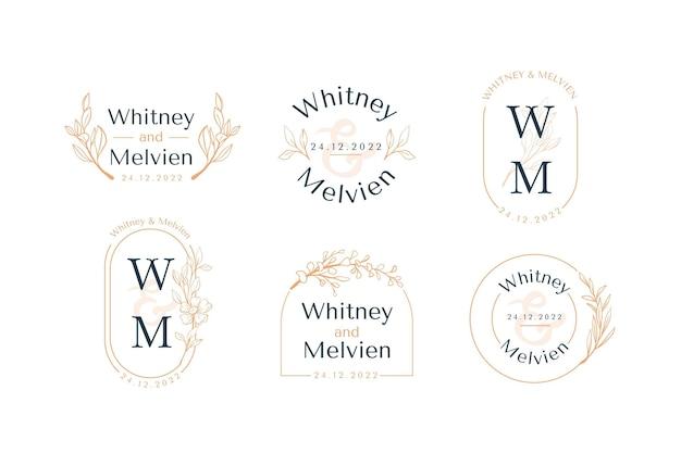 Colección de monogramas de boda planos lineales vector gratuito