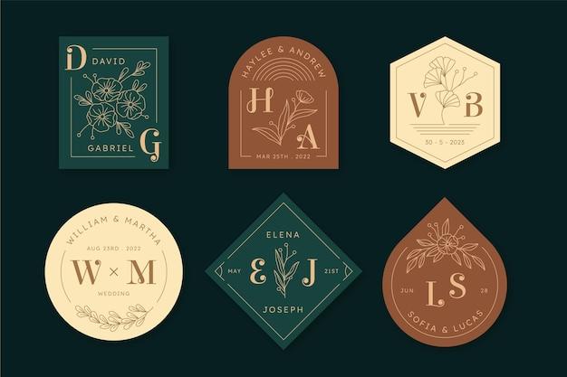 Colección de monogramas de boda planos lineales