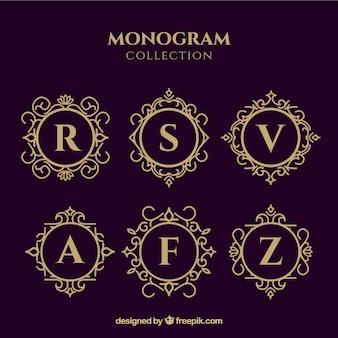 Colección de monogramas dorados elegantes