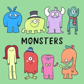 Colección de monstruos de dibujos animados. conjunto de vector de monstruos de dibujos animados aislado.