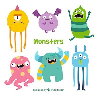 Colección de monstruos divertidos en estilo hecho a mano