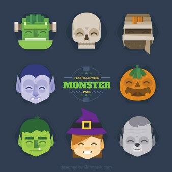 Colección de monstruos de halloween planos